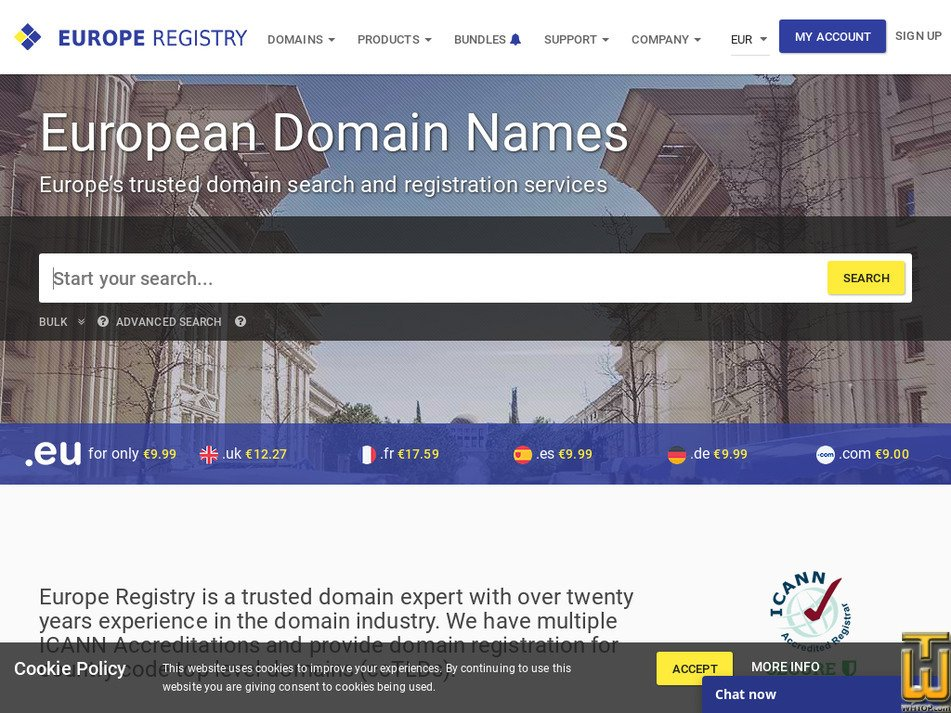 europeregistry.com Screenshot