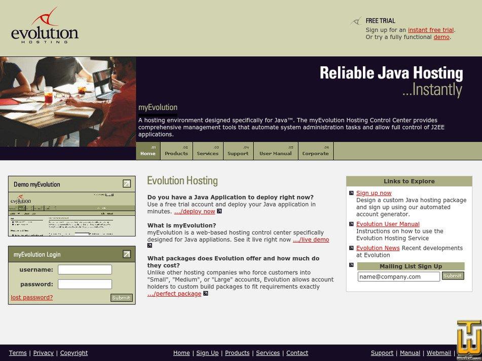 evolutionhosting.com Screenshot