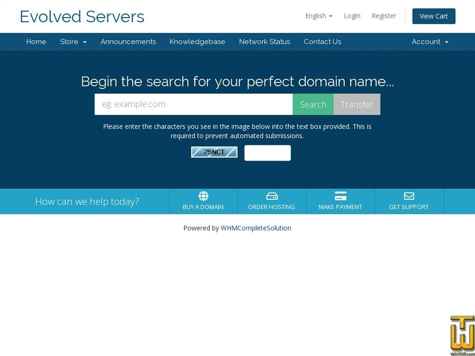 evolvedservers.com Screenshot