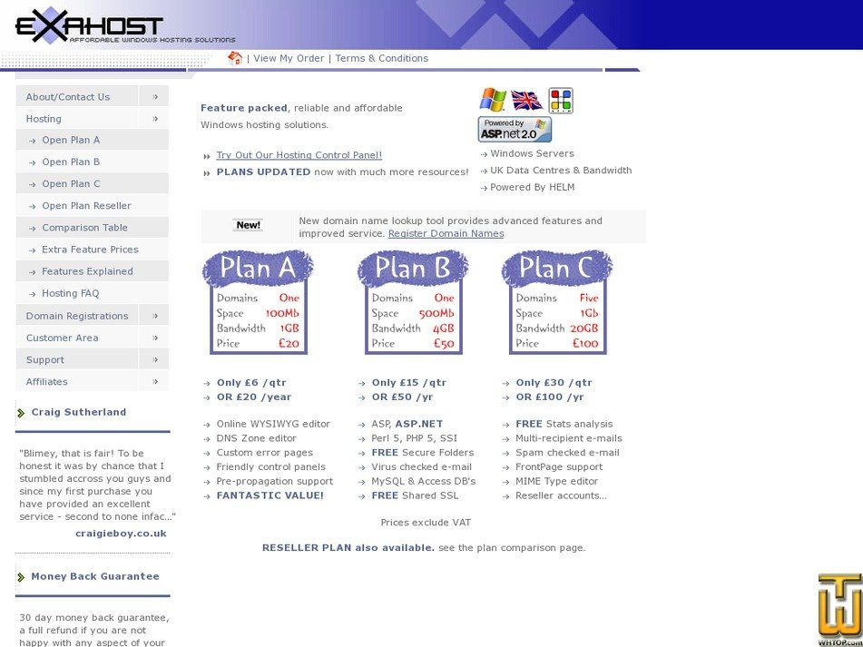 exahost.co.uk Screenshot