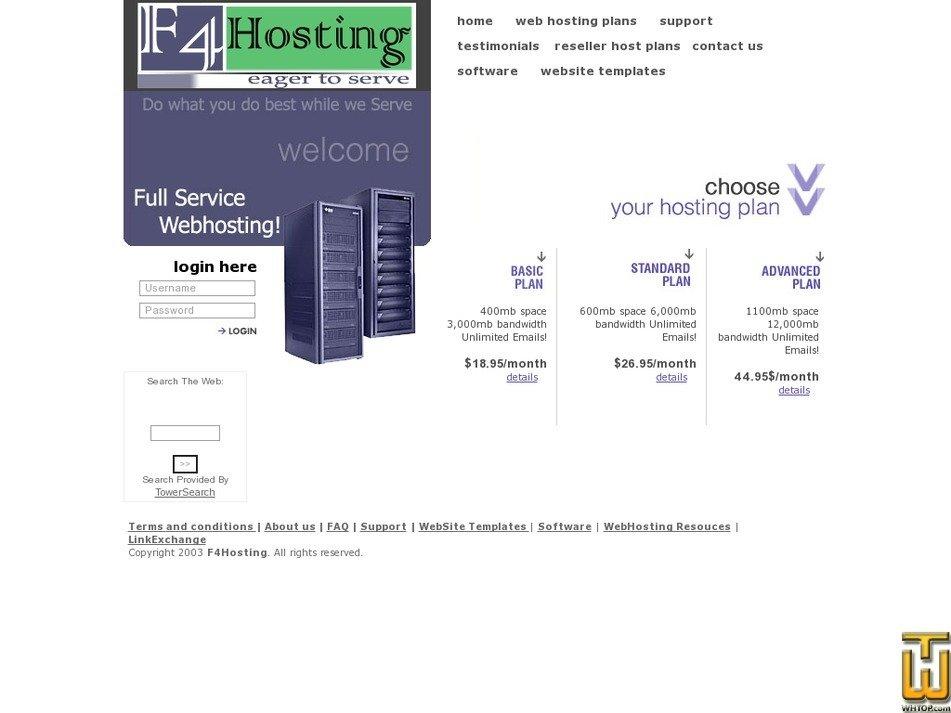 f4hosting.com Screenshot
