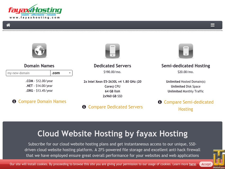 fayaxhosting.com Screenshot