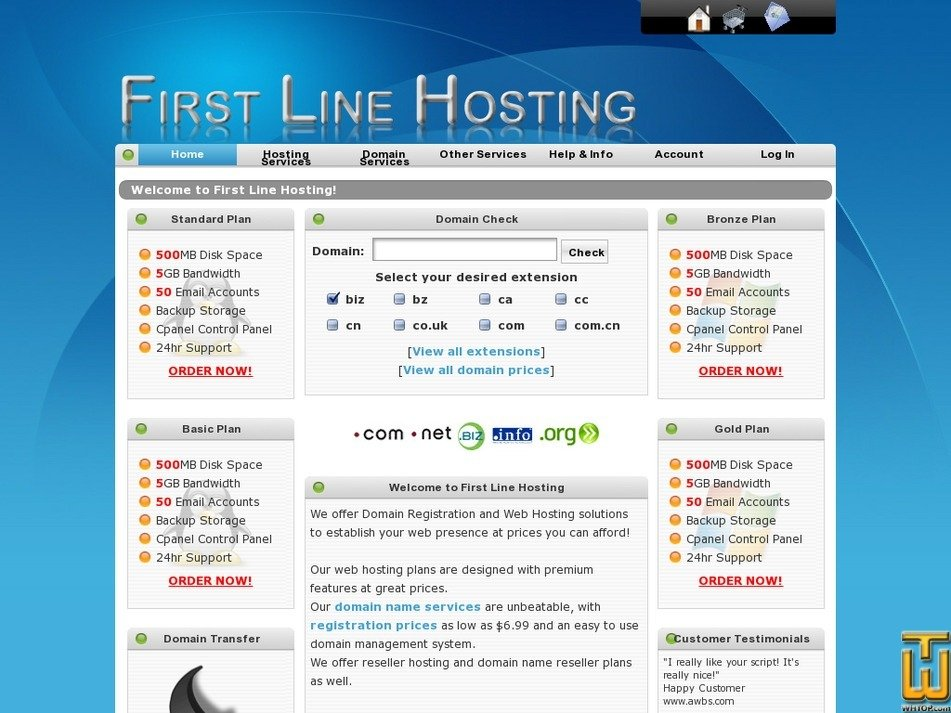 firstlinehosting.com Screenshot