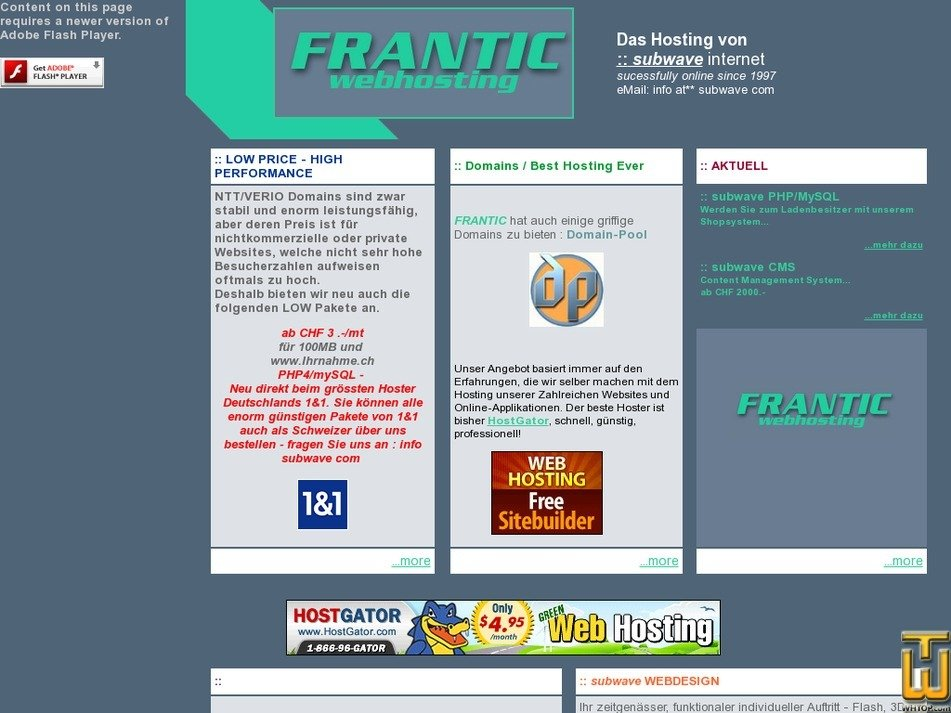 frantic.ch Screenshot