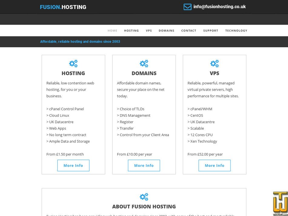 fusionhosting.co.uk Screenshot