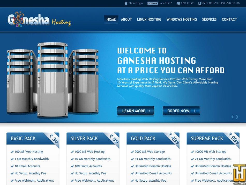 ganeshahosting.com Screenshot