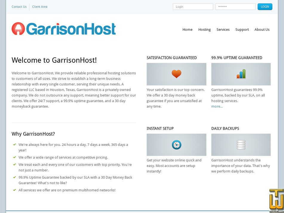 garrisonhost.com Screenshot
