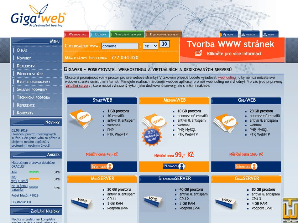 gigaweb.cz Screenshot