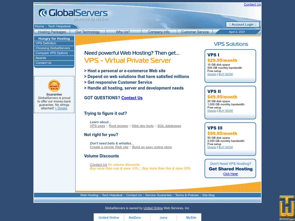 globalservers.com Screenshot