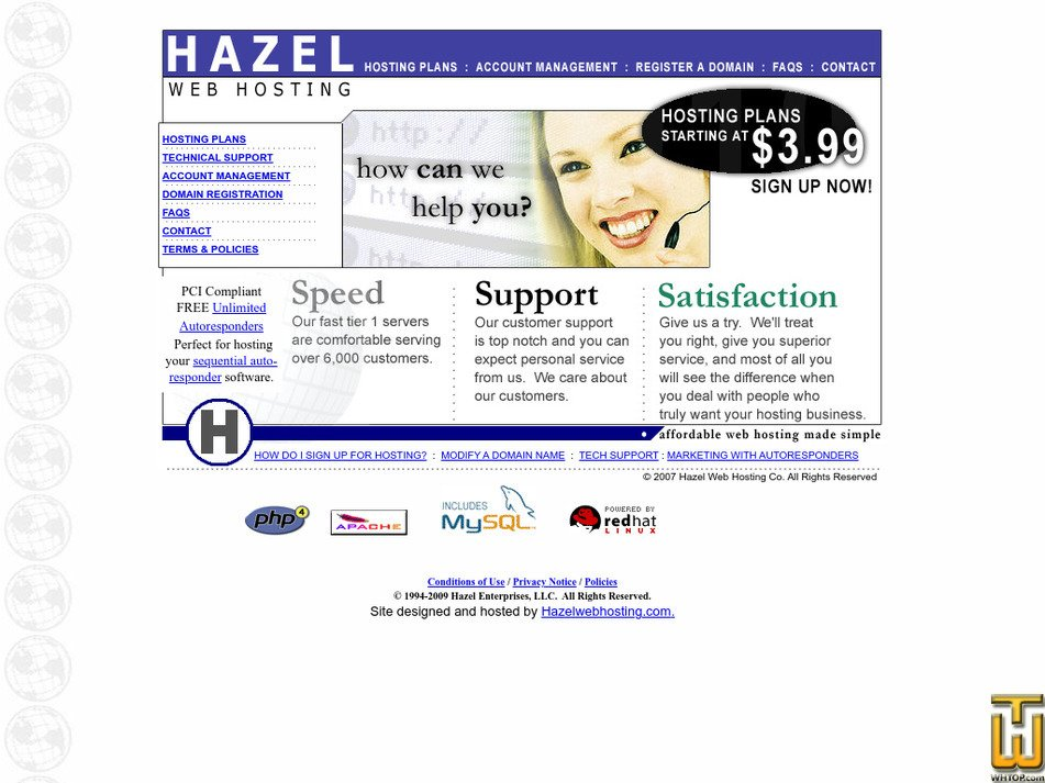 hazelwebhosting.com Screenshot
