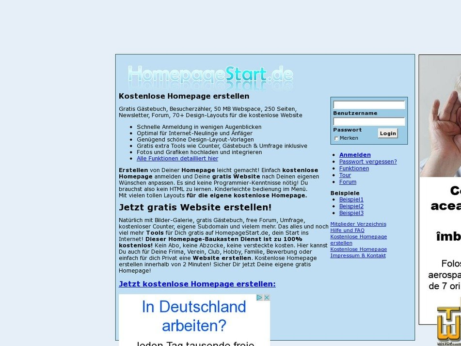 homepagestart.de Screenshot