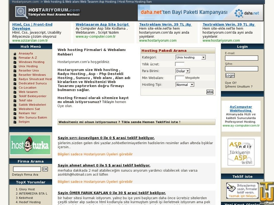 hostariyorum.com Screenshot