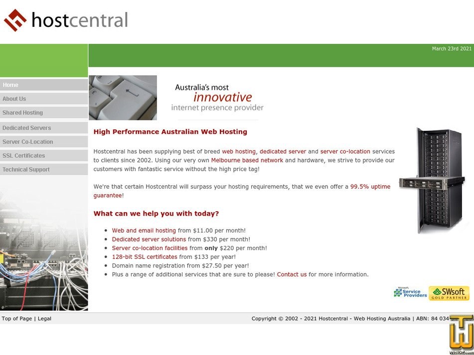 hostcentral.net.au Screenshot
