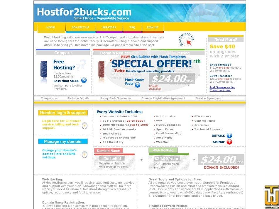 hostfor2bucks.com Screenshot