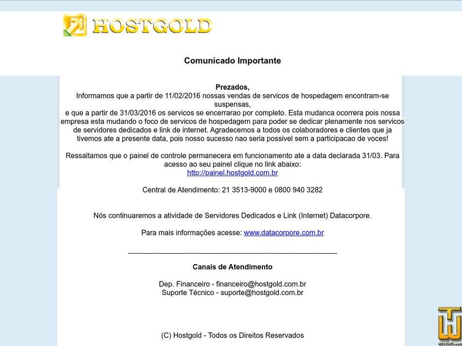 hostgold.com.br Screenshot