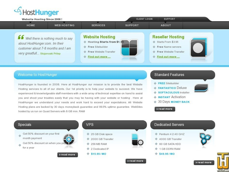 hosthunger.com Screenshot