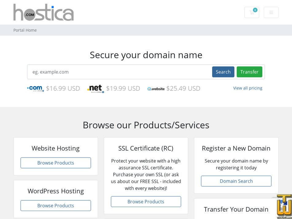 hostica.com Screenshot