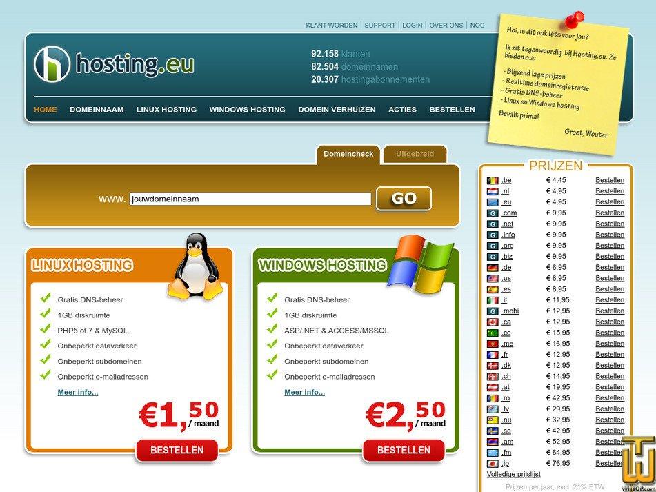 hosting.eu Screenshot