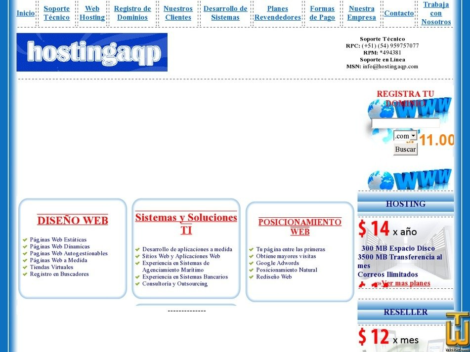 hostingaqp.com Screenshot