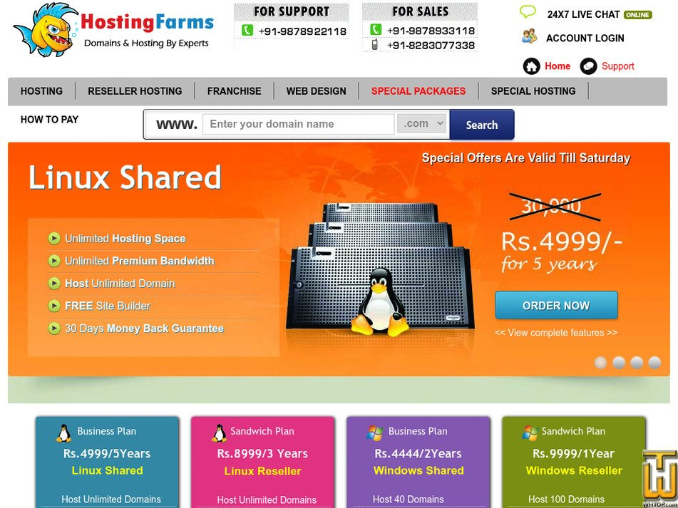 hostingfarms.com Screenshot