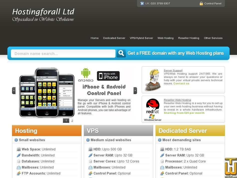 hostingforall.co.uk Screenshot