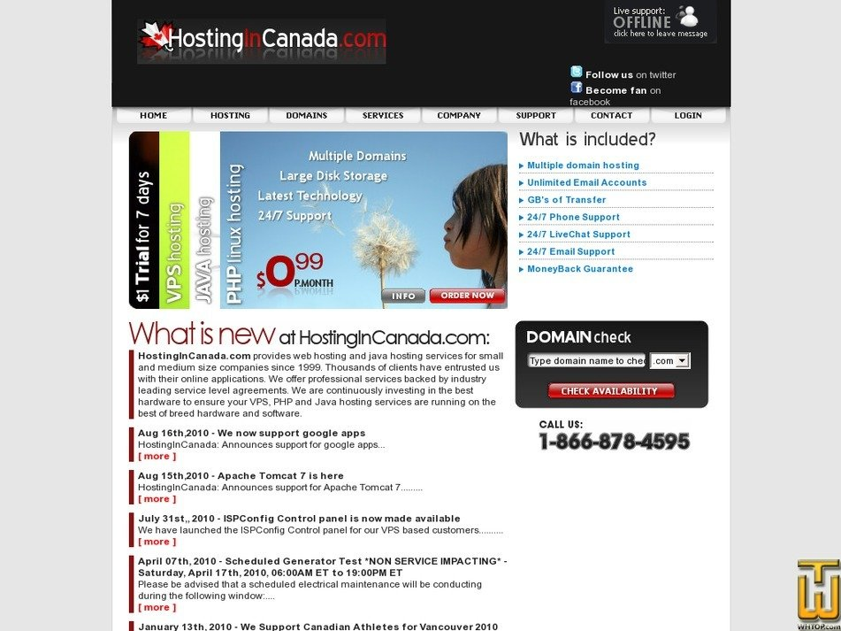 hostingincanada.com Screenshot