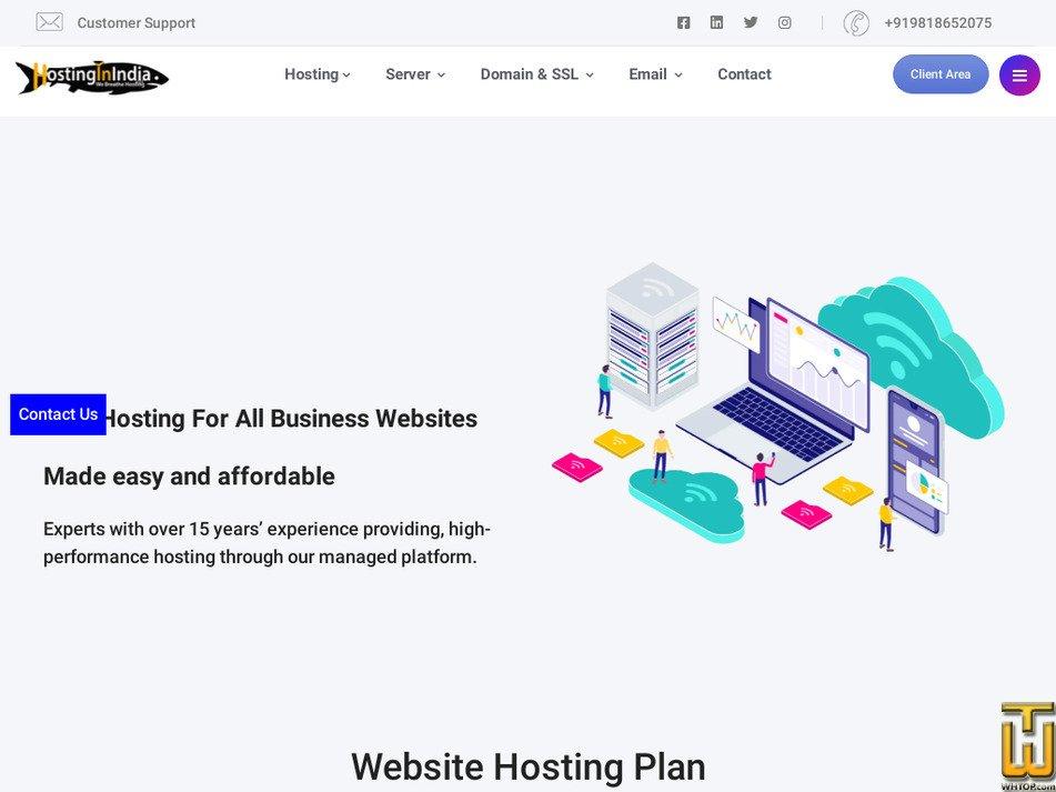 hostinginindia.com Screenshot