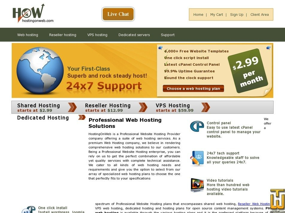 hostingonweb.com Screenshot