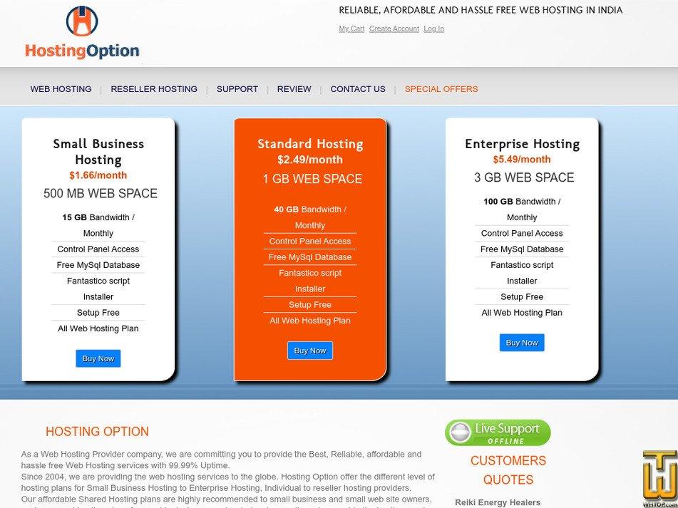 hostingoption.com Screenshot