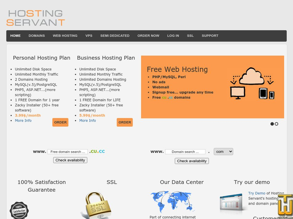 hostingservant.com Screenshot