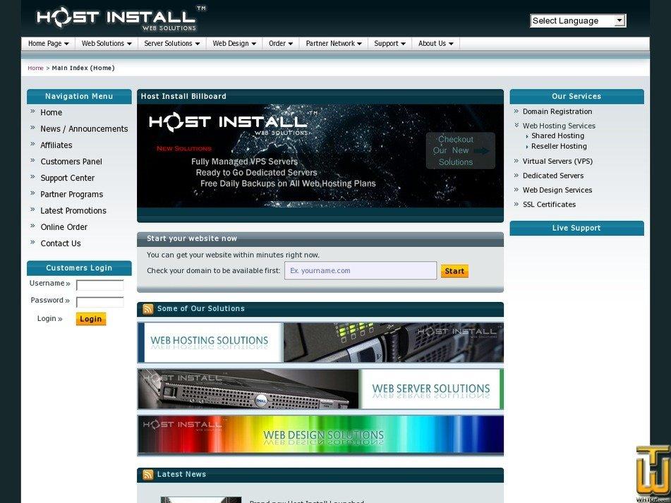 hostinstall.com Screenshot