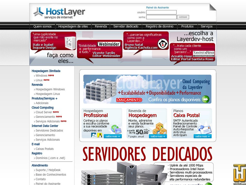 hostlayer.com.br Screenshot