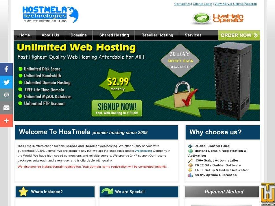 hostmela.com Screenshot