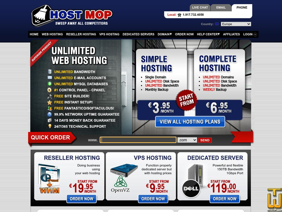 hostmop.com Screenshot