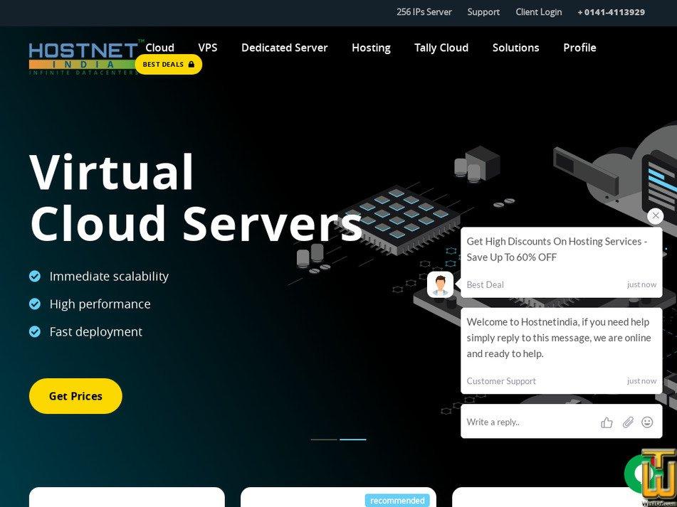 hostnetindia.com Screenshot