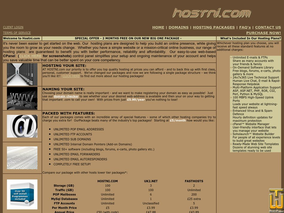 hostni.com Screenshot