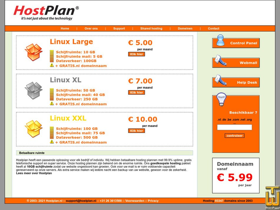 hostplan.nl Screenshot