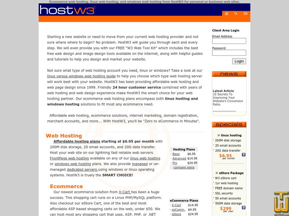 hostw3.com Screenshot