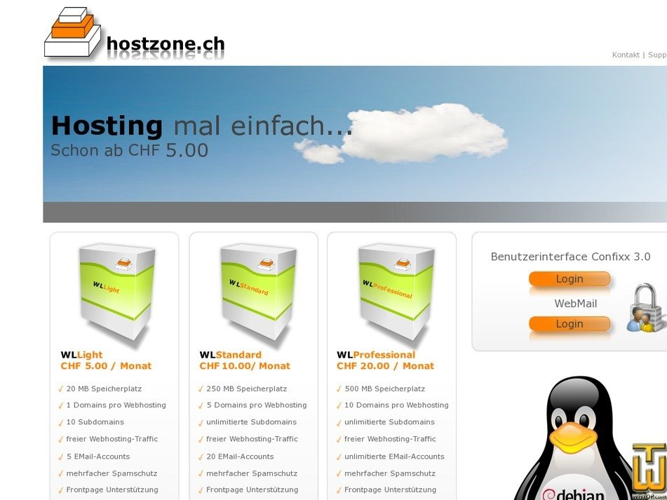 hostzone.ch Screenshot