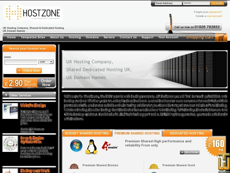 hostzone.co.uk Screenshot