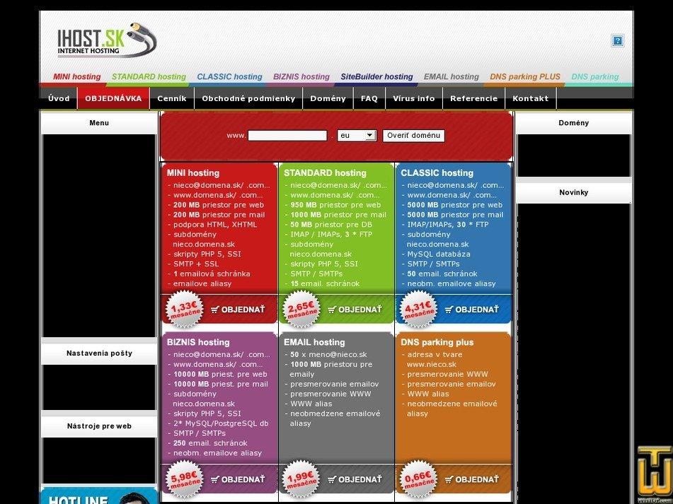 ihost.sk Screenshot
