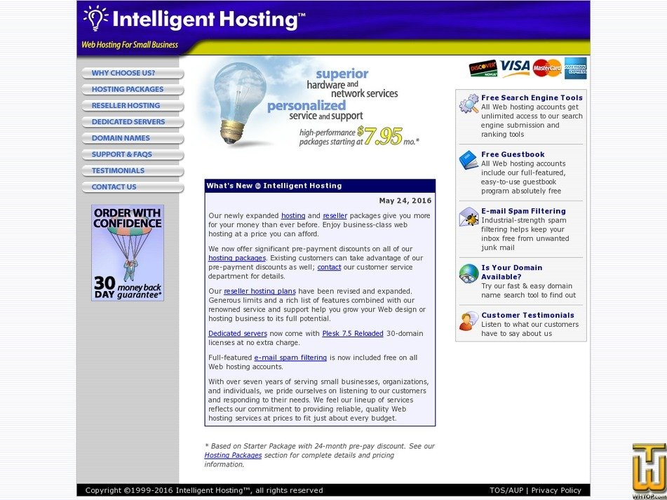 intelligenthosting.com Screenshot