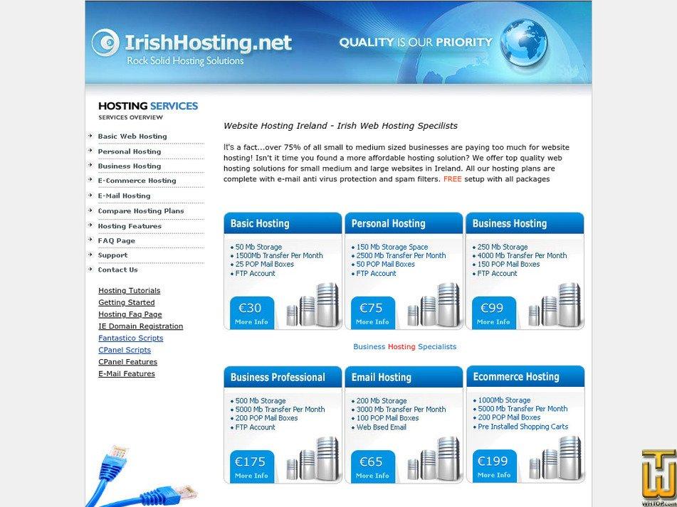 irishhosting.net Screenshot