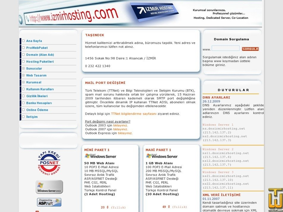 izmirhosting.com Screenshot