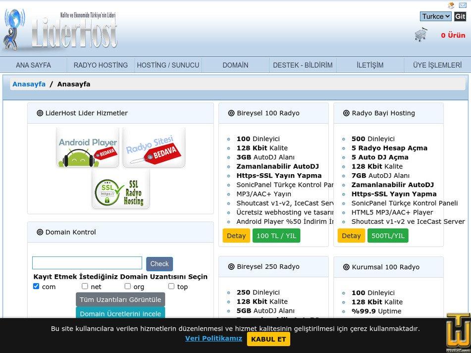 liderhost.com.tr Screenshot