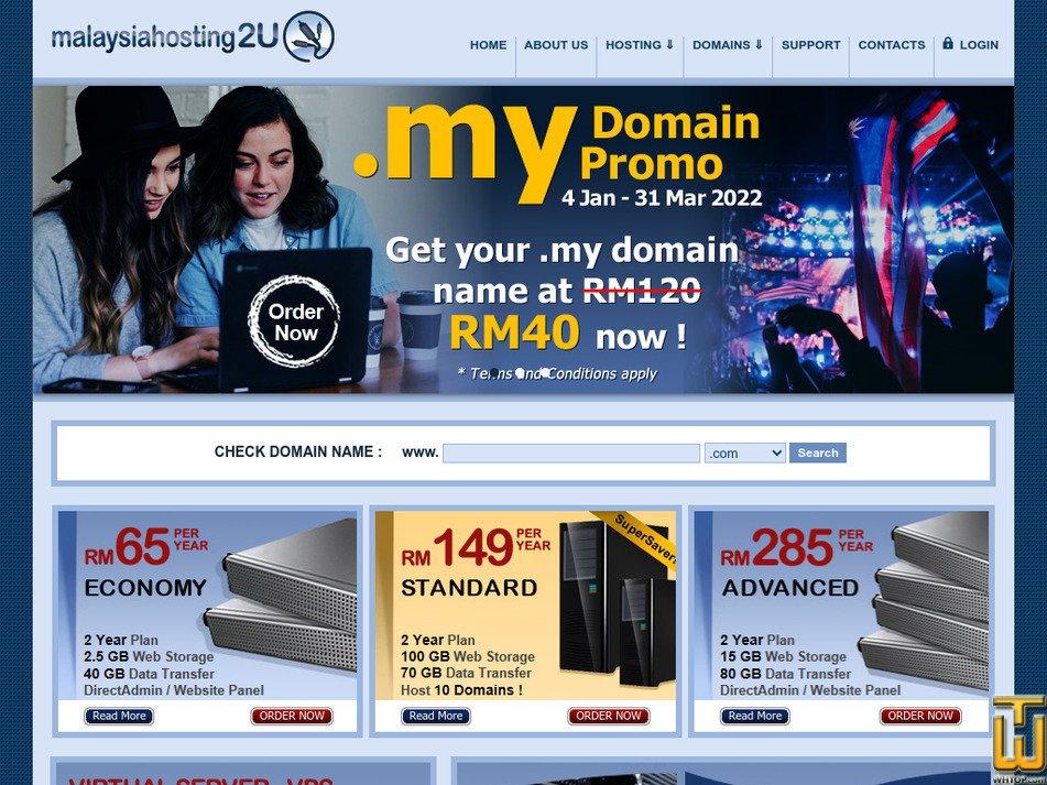 malaysiahosting2u.com Screenshot