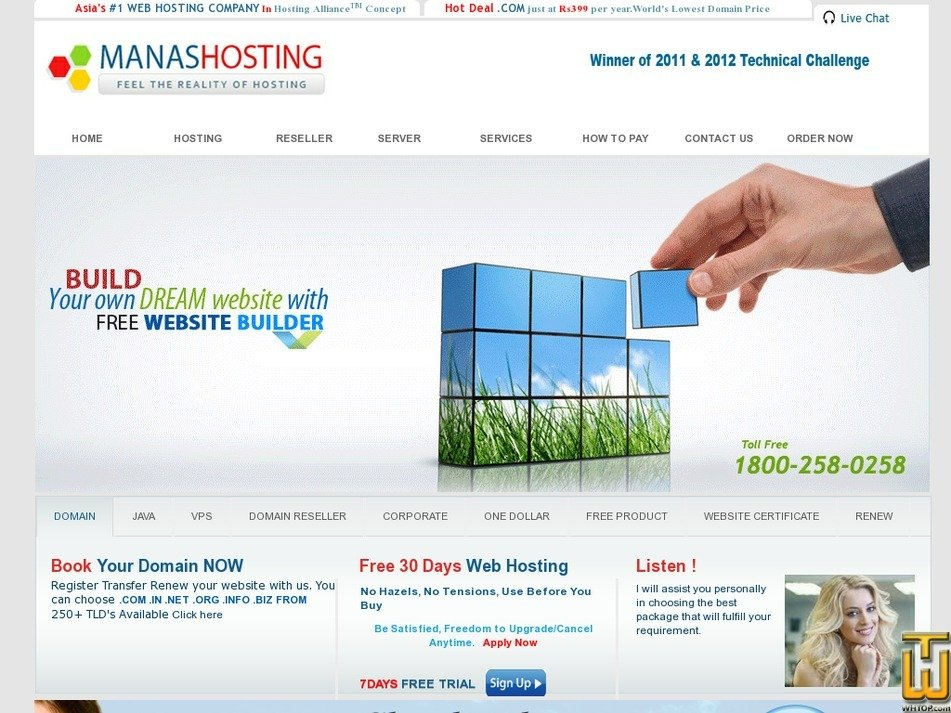 manashosting.com Screenshot