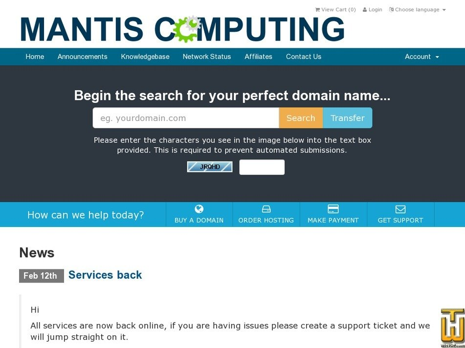 mantiscomputing.com Screenshot