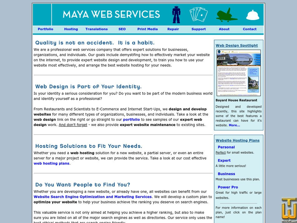 mayawebservices.com Screenshot
