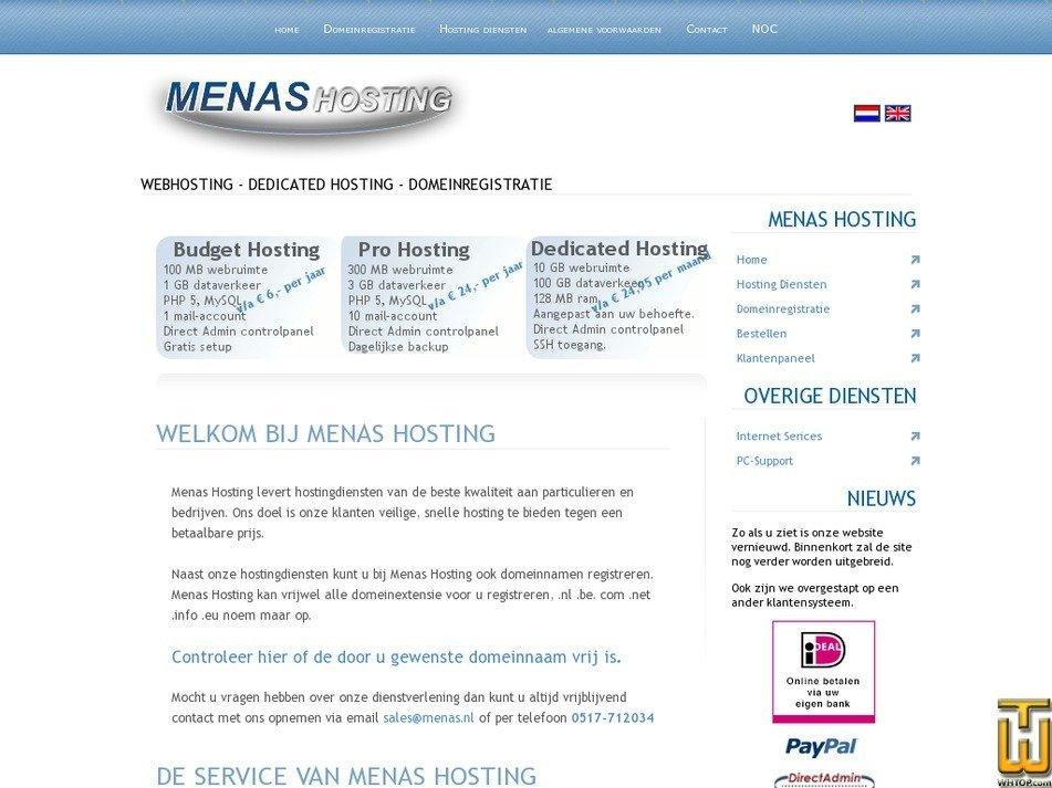 menashosting.nl Screenshot